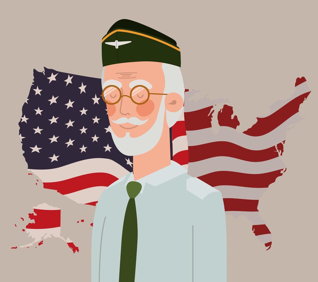 memorial day card con veterano e bandiera usa nella mappa vettore