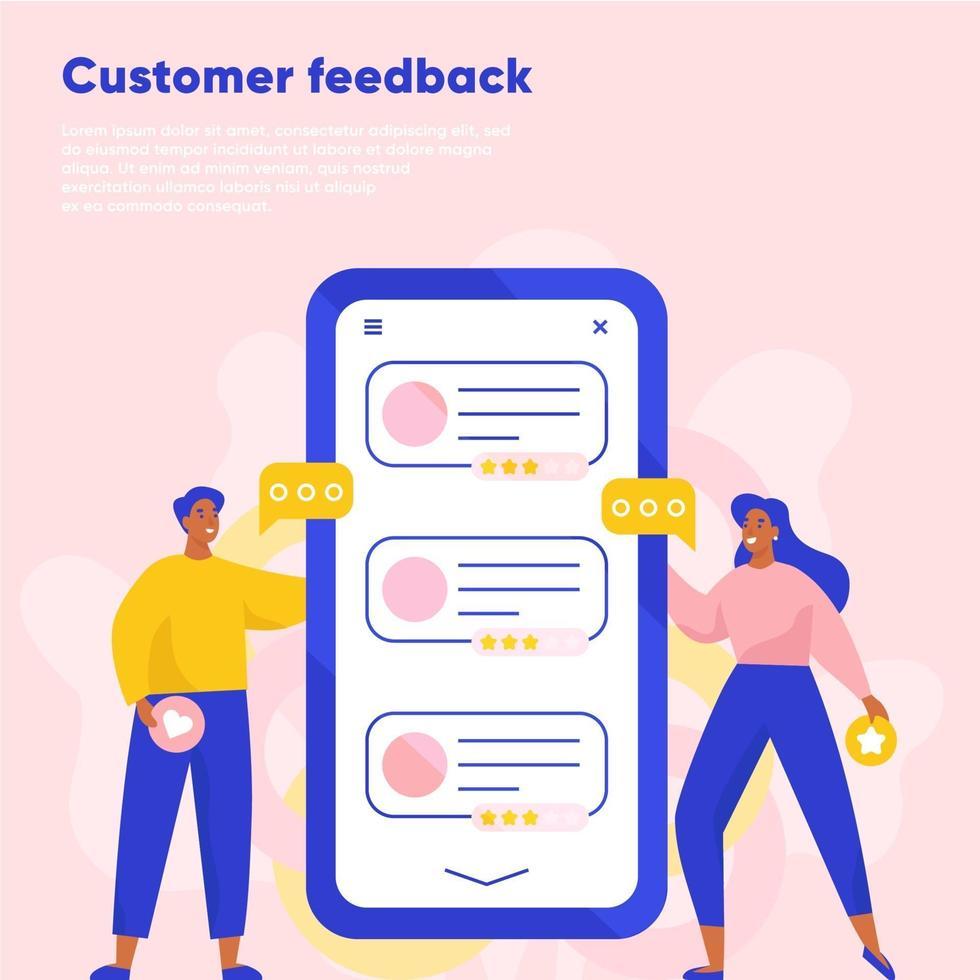 feedback dei clienti recensione online. testimonianze, feedback, valutazione. uomo e donna che lasciano una recensione utilizzando smartphone. illustrazione vettoriale piatta.