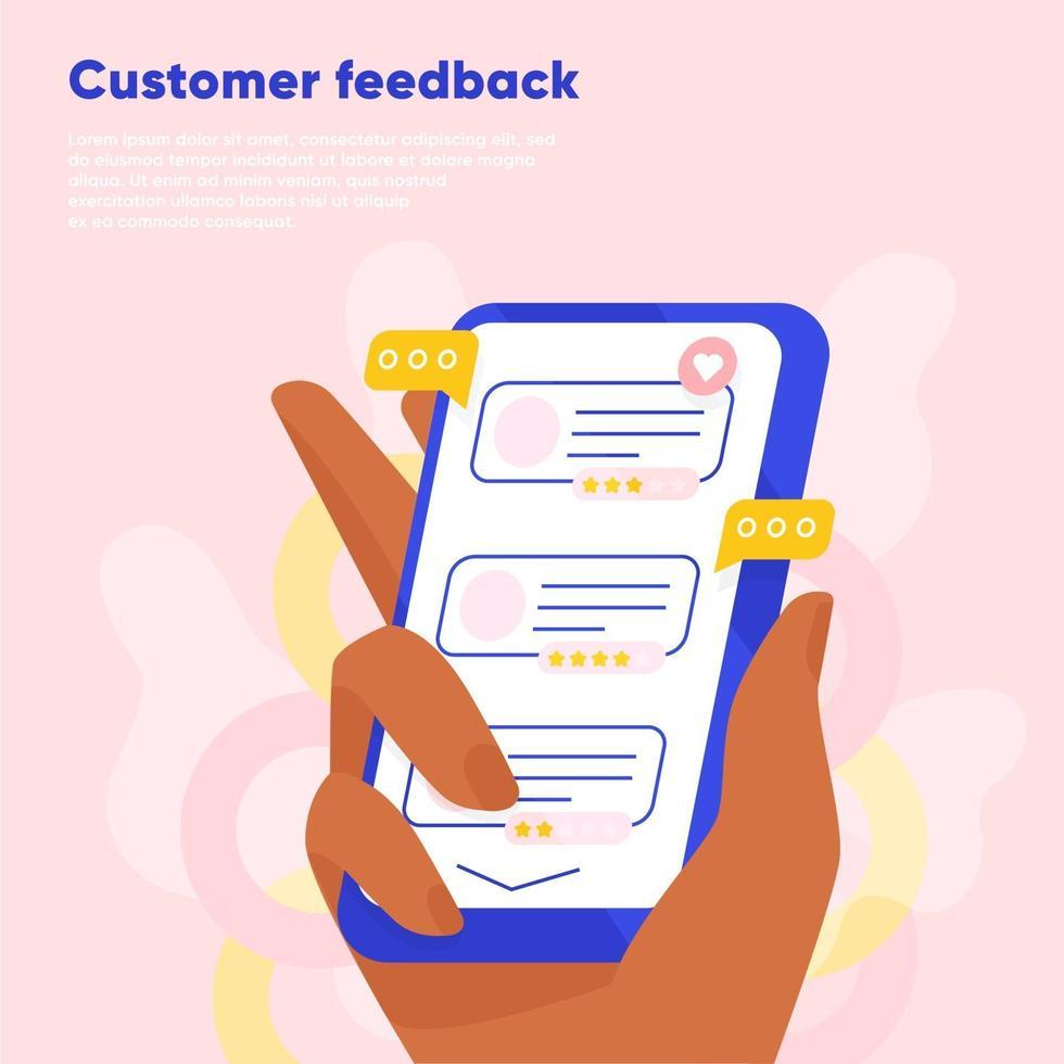 feedback dei clienti recensione online. mano che tiene lo smartphone e lasciare una valutazione e una recensione. cliente che legge i feedback dell'azienda. illustrazione vettoriale piatta.