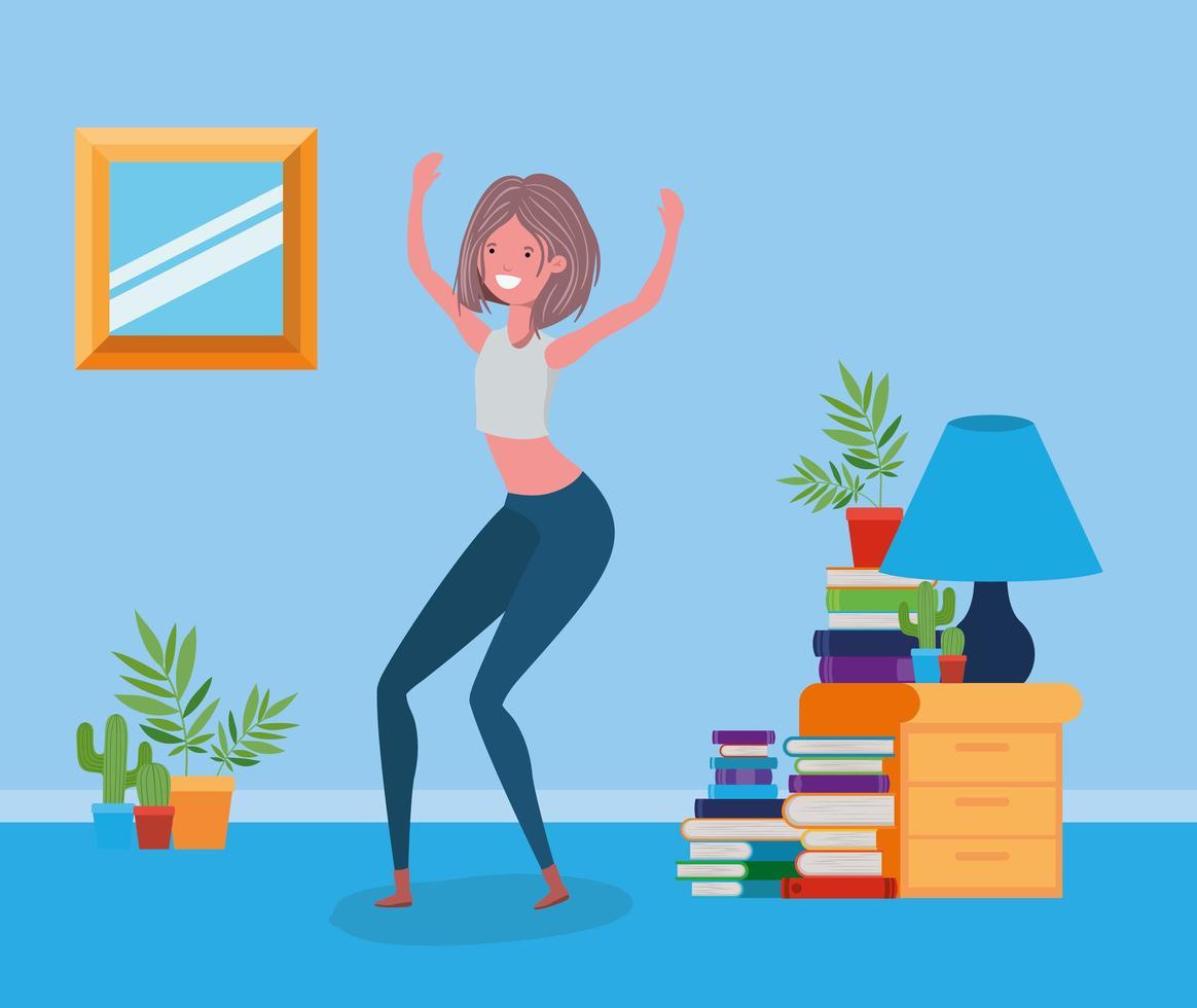 donna felice nel design della sala studio vettore
