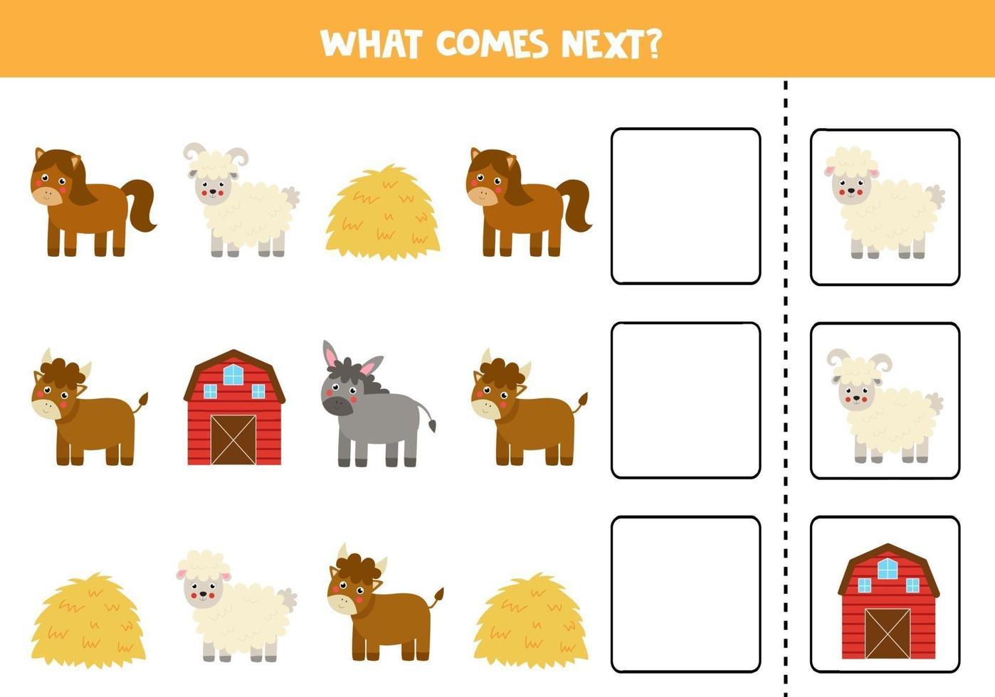 cosa viene dopo il gioco con animali da fattoria dei cartoni animati. vettore