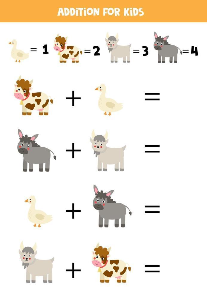 foglio di lavoro aggiuntivo con simpatici animali da fattoria. gioco di matematica. vettore