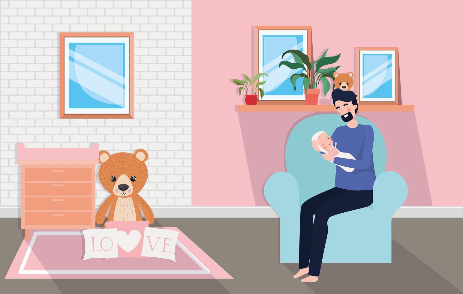 padre con neonato a casa vettore