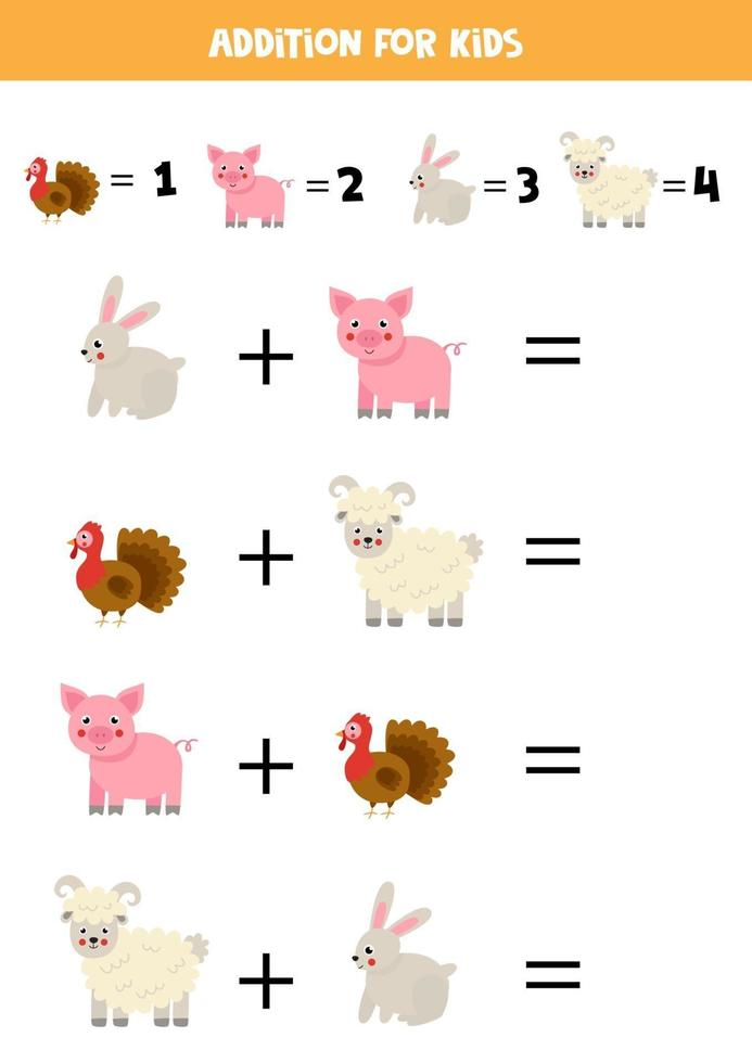 gioco di addizione con simpatici animali da fattoria dei cartoni animati. gioco di matematica per bambini. vettore