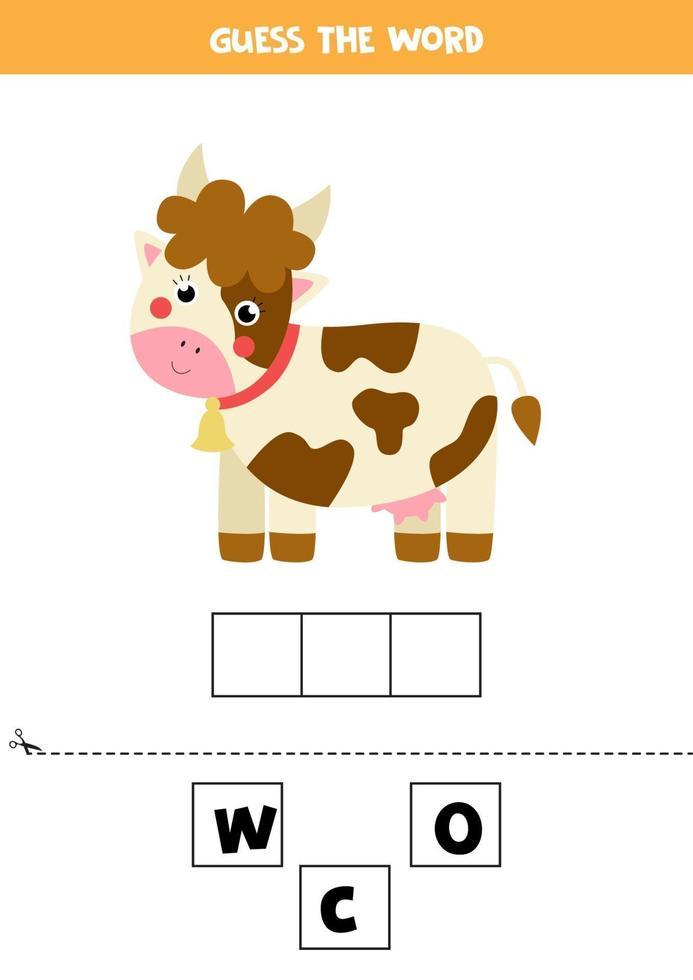 gioco di ortografia per bambini. mucca carina cartone animato. vettore