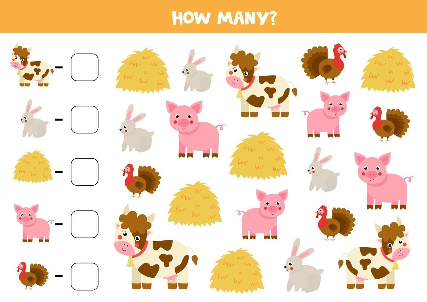 gioco di conteggio con fieno e animali da fattoria. foglio di lavoro di matematica. vettore