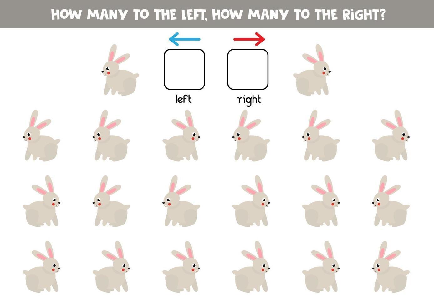 a sinistra oa destra con simpatico coniglio. foglio di lavoro logico per bambini in età prescolare. vettore