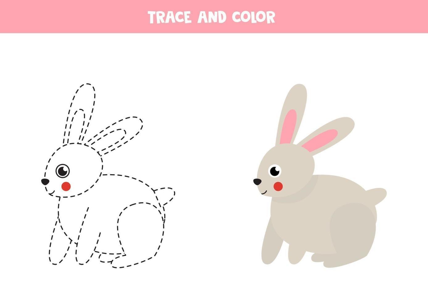 traccia e colora un coniglio carino. foglio di lavoro spaziale per bambini. vettore