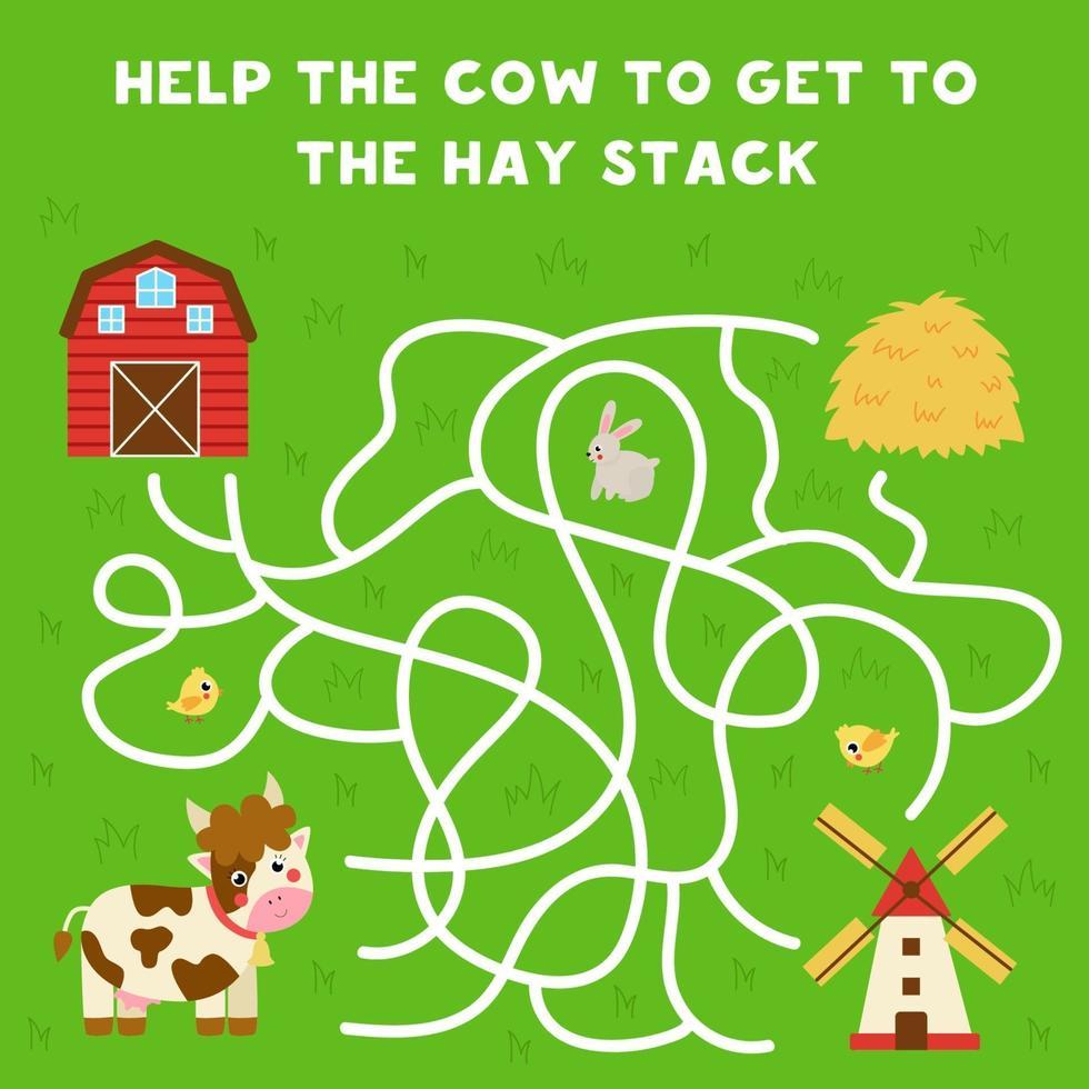 labirinto con mucca cartone animato e pila di fieno. gioco logico per bambini. vettore