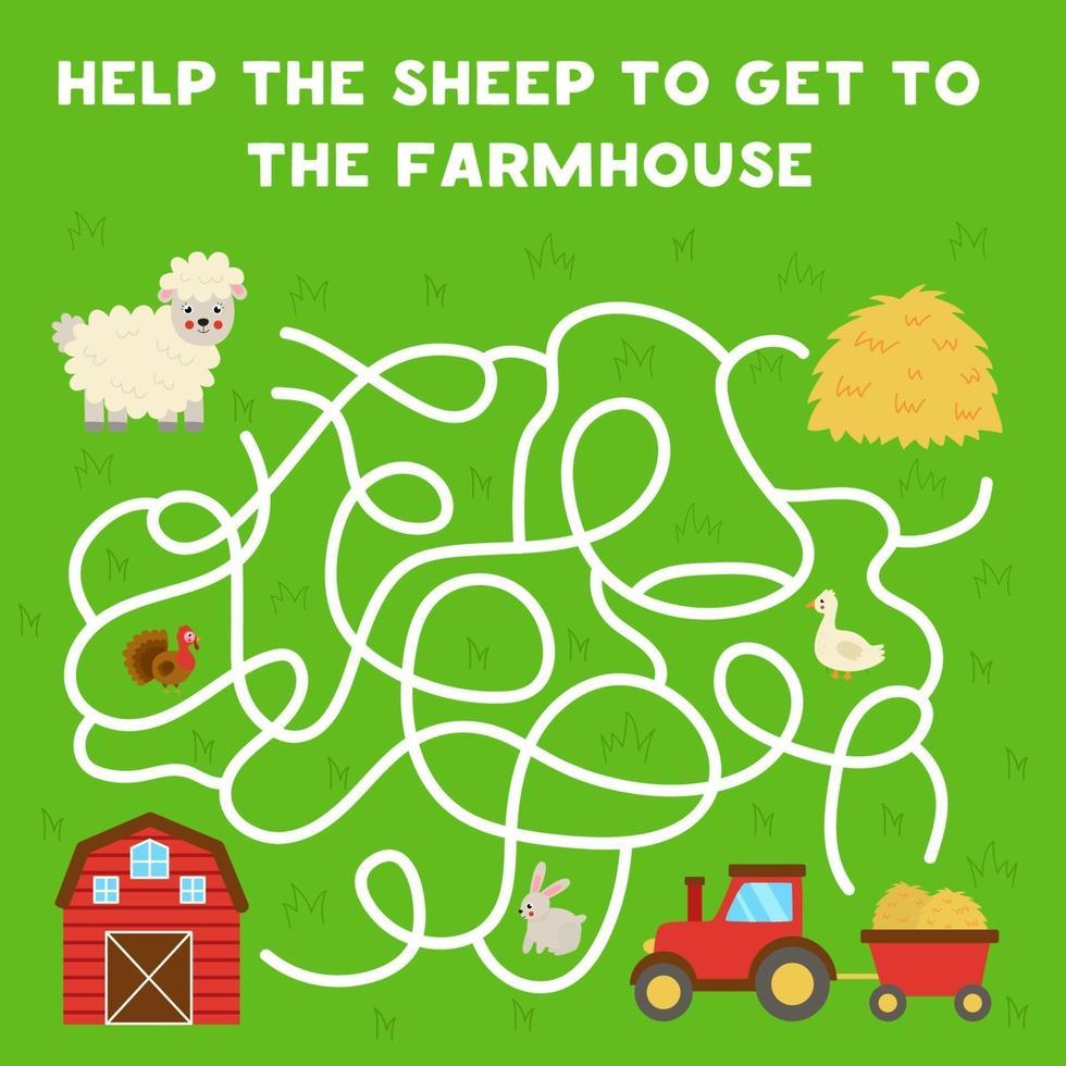 labirinto con cartone animato pecore e fienile. gioco logico per bambini. vettore