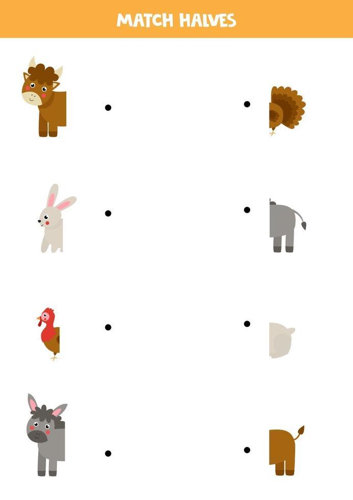 abbina gli animali della fattoria e le loro code. gioco logico per bambini. vettore