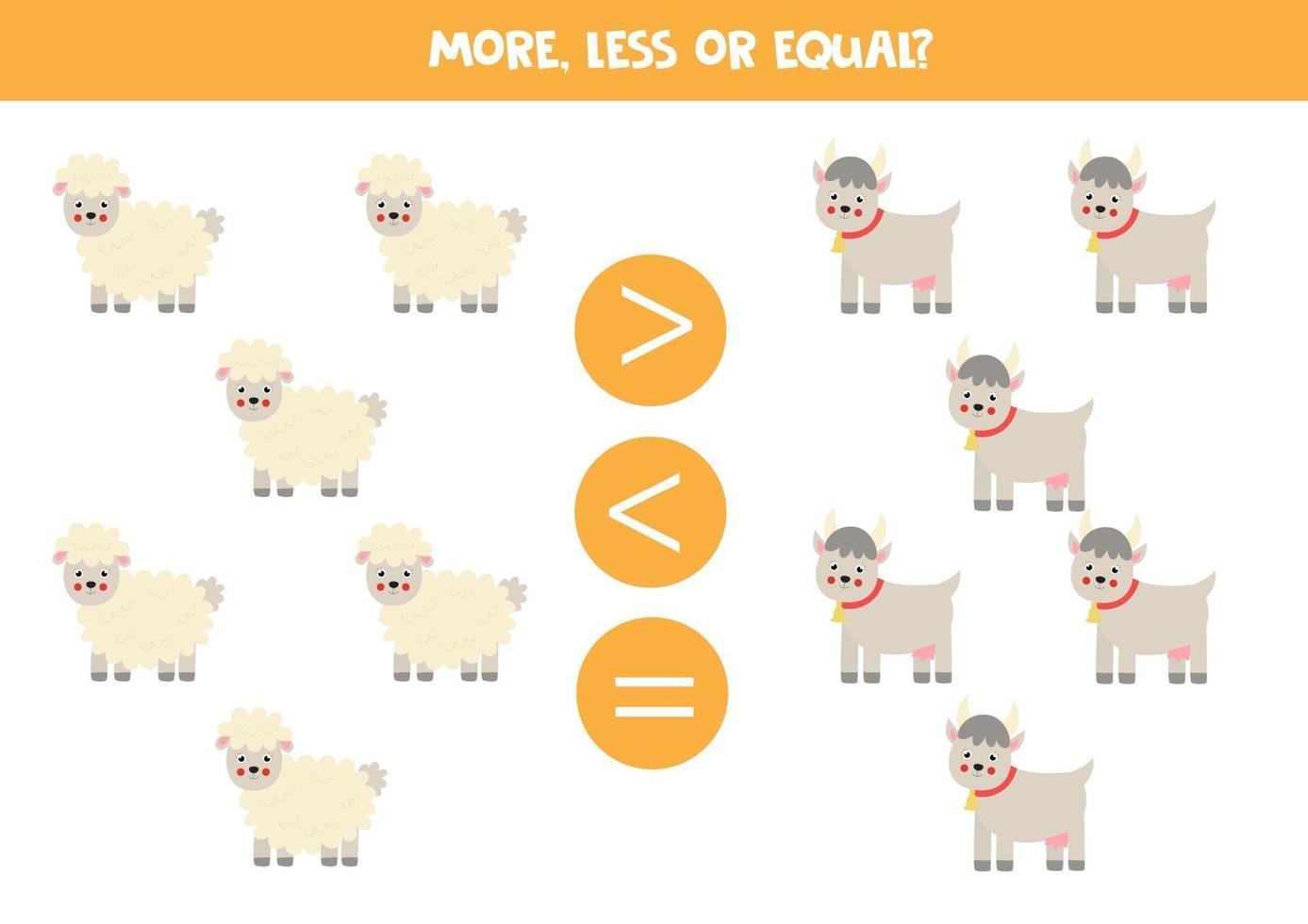 più, meno, uguale a pecore e capre dei cartoni animati. vettore