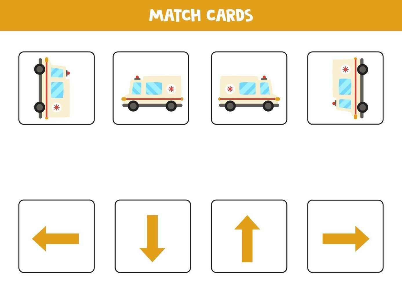 sinistra, destra, su o giù. orientamento spaziale con auto ambulanza dei cartoni animati. vettore