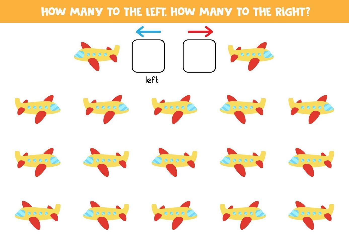 sinistra o destra con l'aereo. foglio di lavoro logico per bambini in età prescolare. vettore