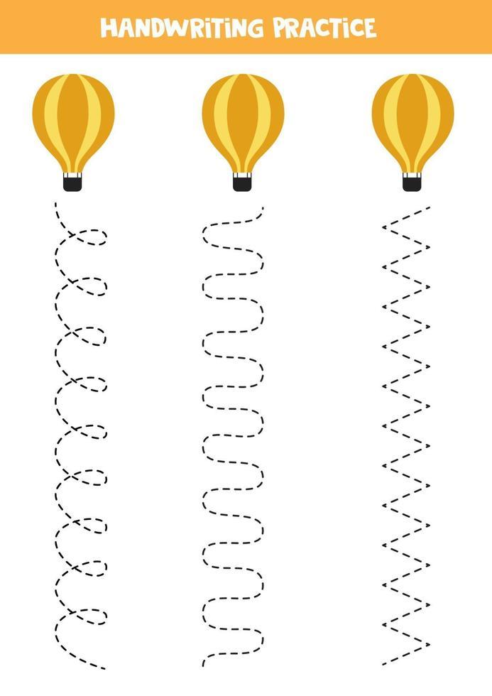 traccia le linee con la mongolfiera. Pratica di scrittura. vettore