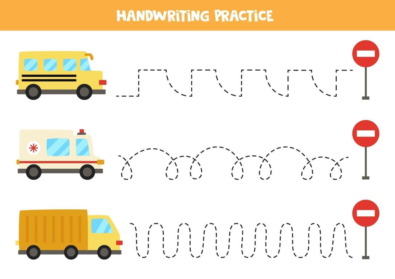 tracciare le linee con mezzi di trasporto. Pratica di scrittura. vettore