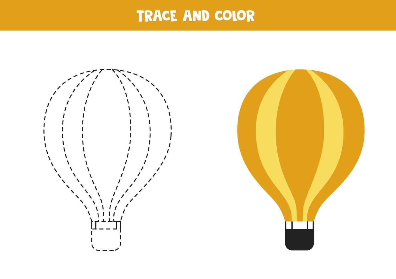 traccia e colora la mongolfiera. foglio di lavoro spaziale per bambini. vettore