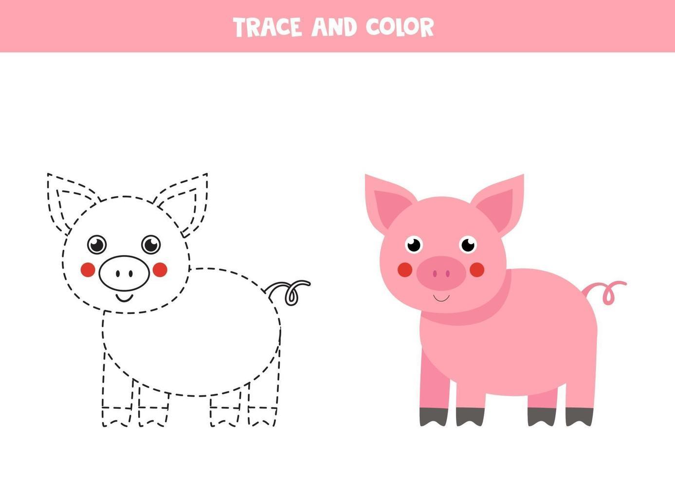 traccia e colora un maiale carino. foglio di lavoro spaziale per bambini. vettore
