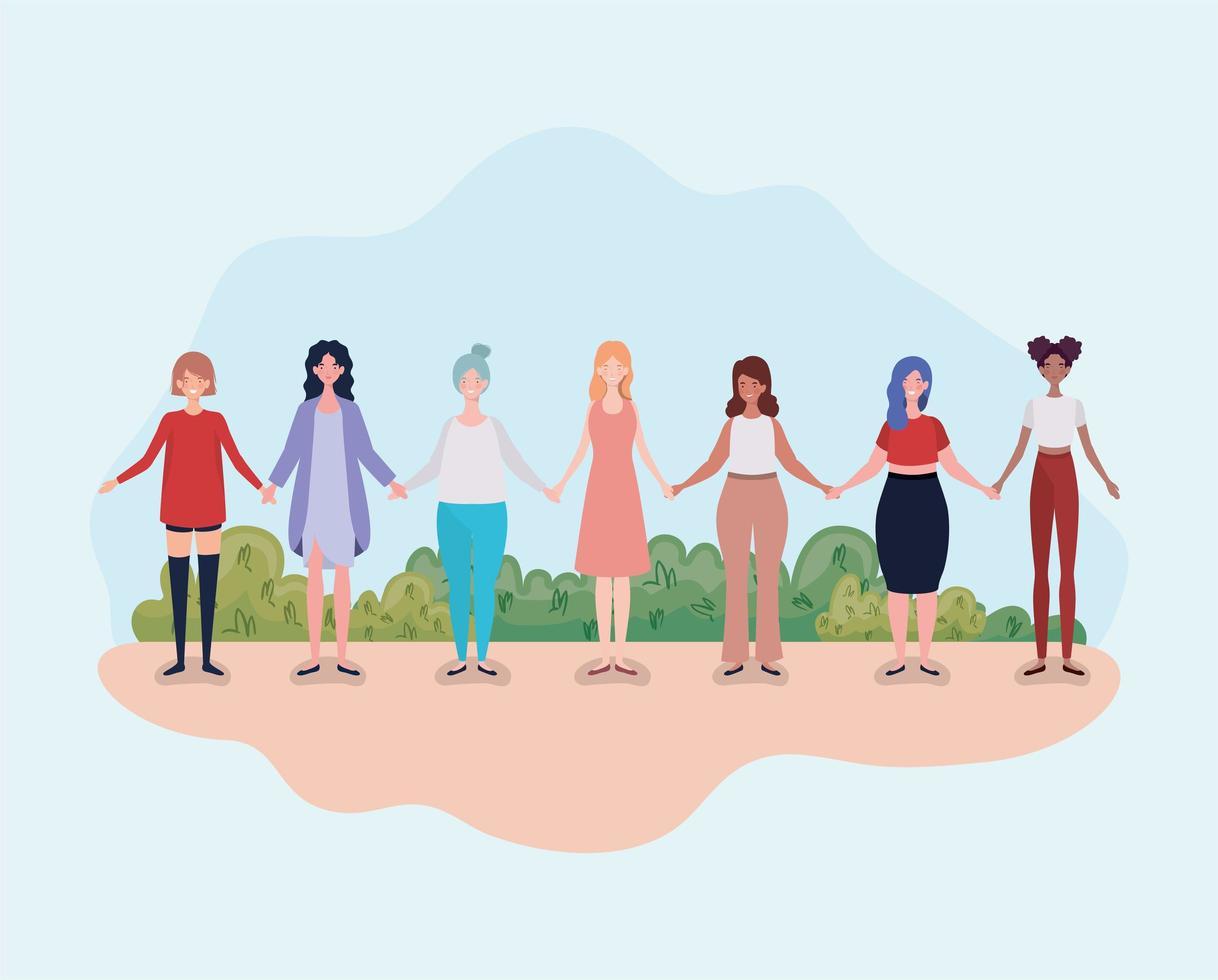 giovani donne in piedi insieme, concetto di diversità vettore