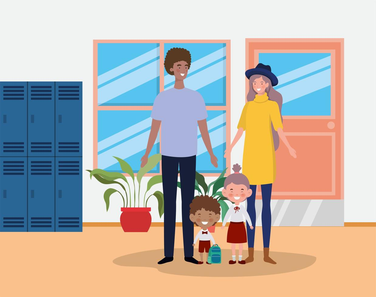 famiglia interrazziale nel corridoio della scuola vettore