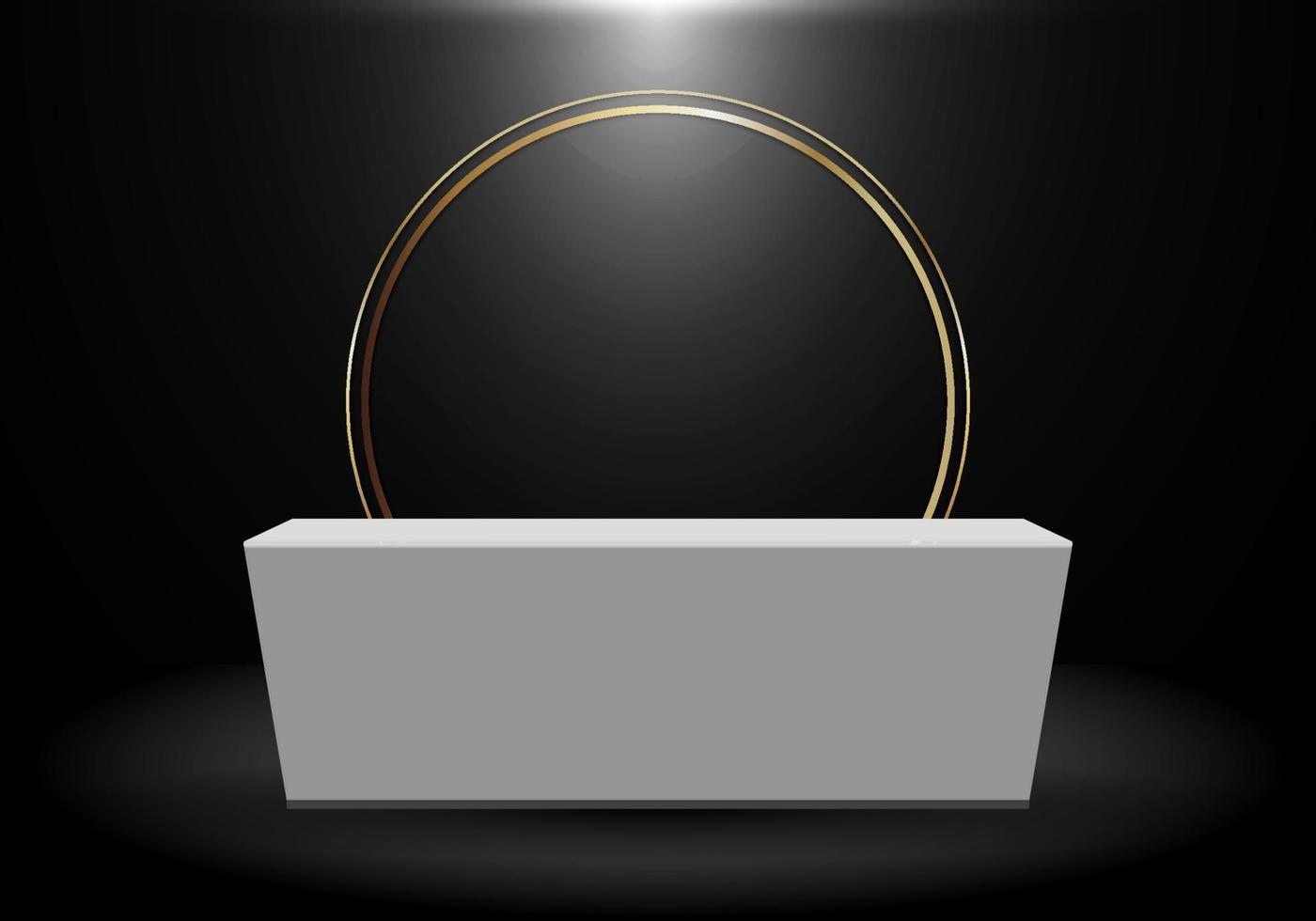 Rendering 3D realistico prodotto nero sullo scaffale in piedi sullo sfondo con cerchio oro bianco vuoto piedistallo podio display su sfondo scuro vettore