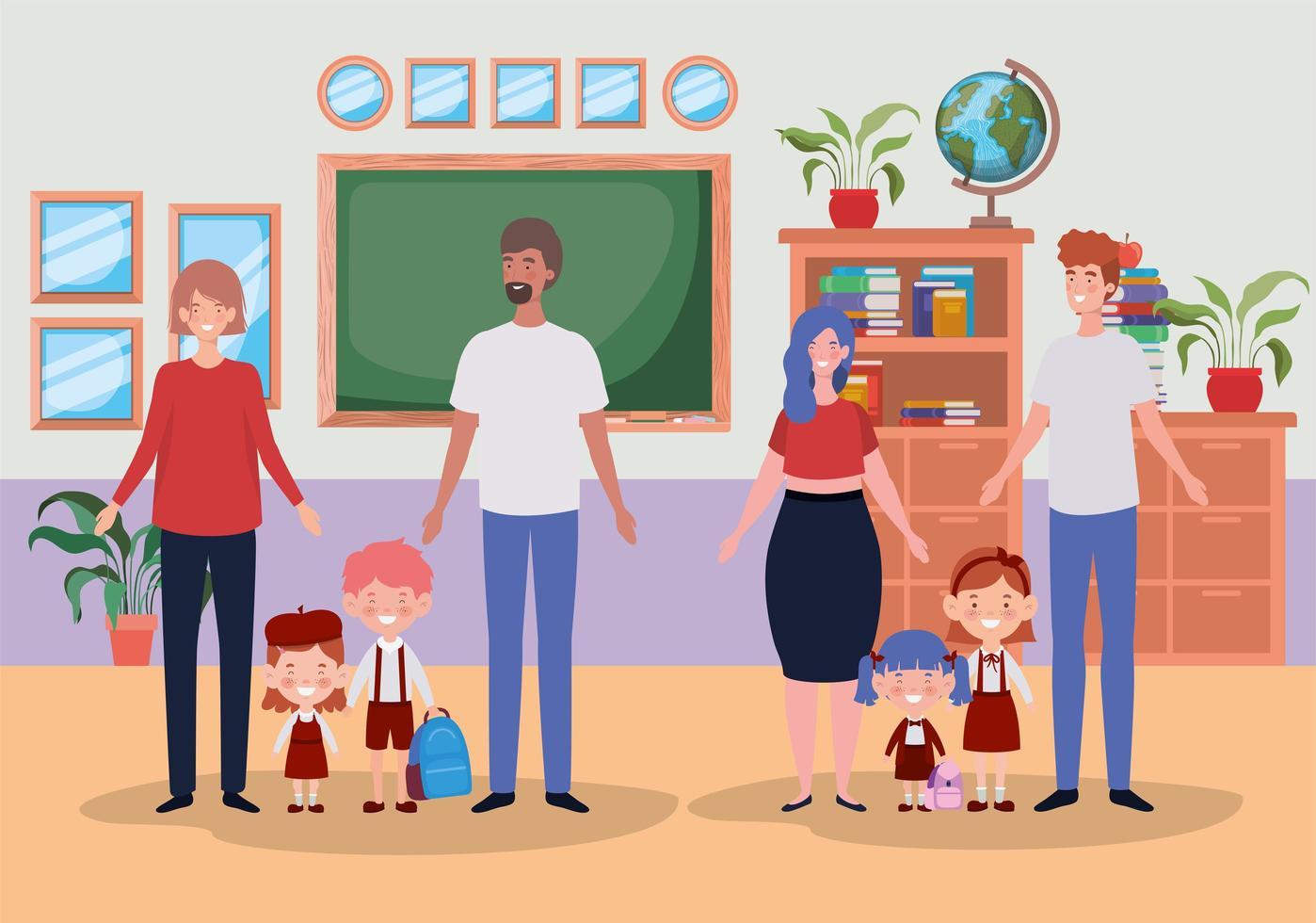 simpatiche famiglie in classe vettore