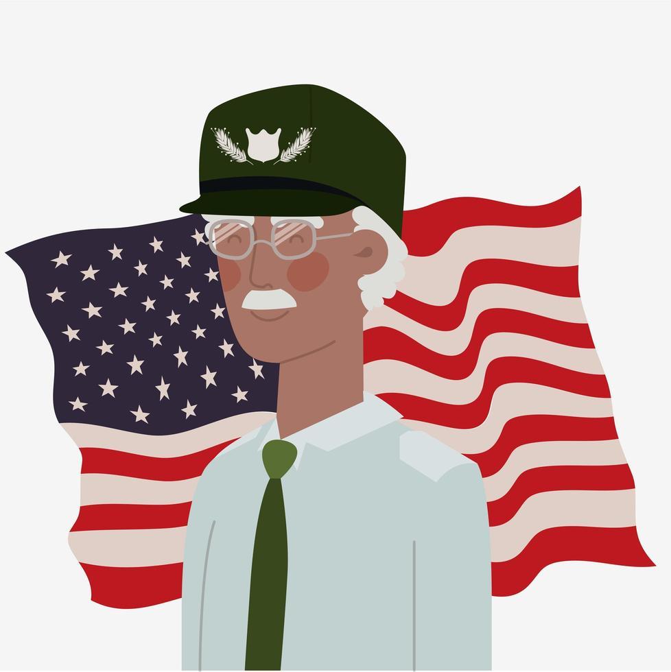 carta del memorial day con veterano afro e bandiera usa vettore