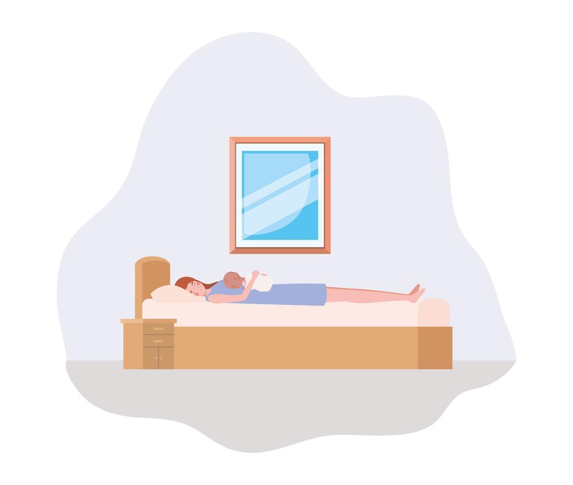 madre con neonato sul divano vettore