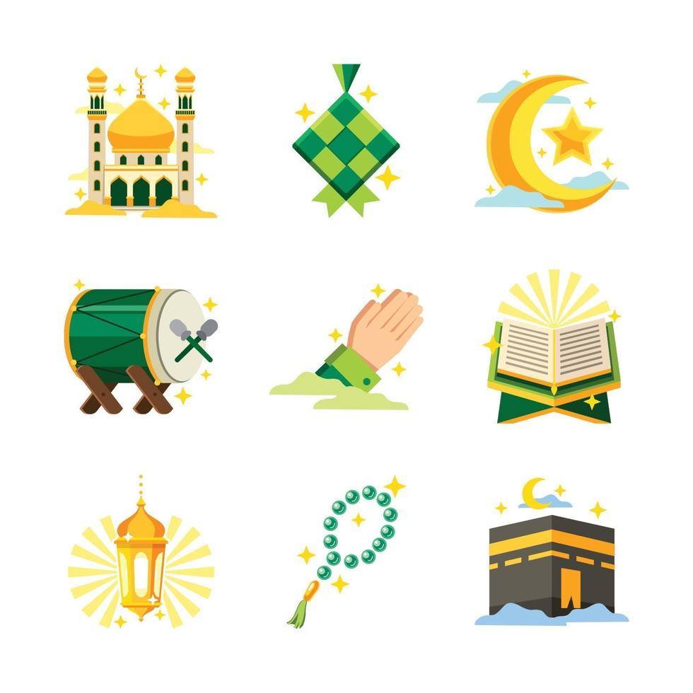 pacchetto di icone di celebrazione islamica eid mubarak vettore