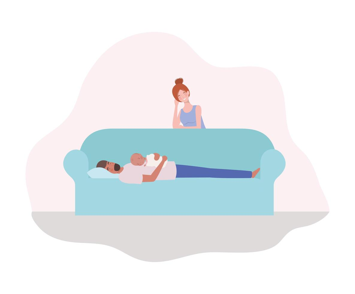 genitori che si prendono cura di un neonato sul divano vettore