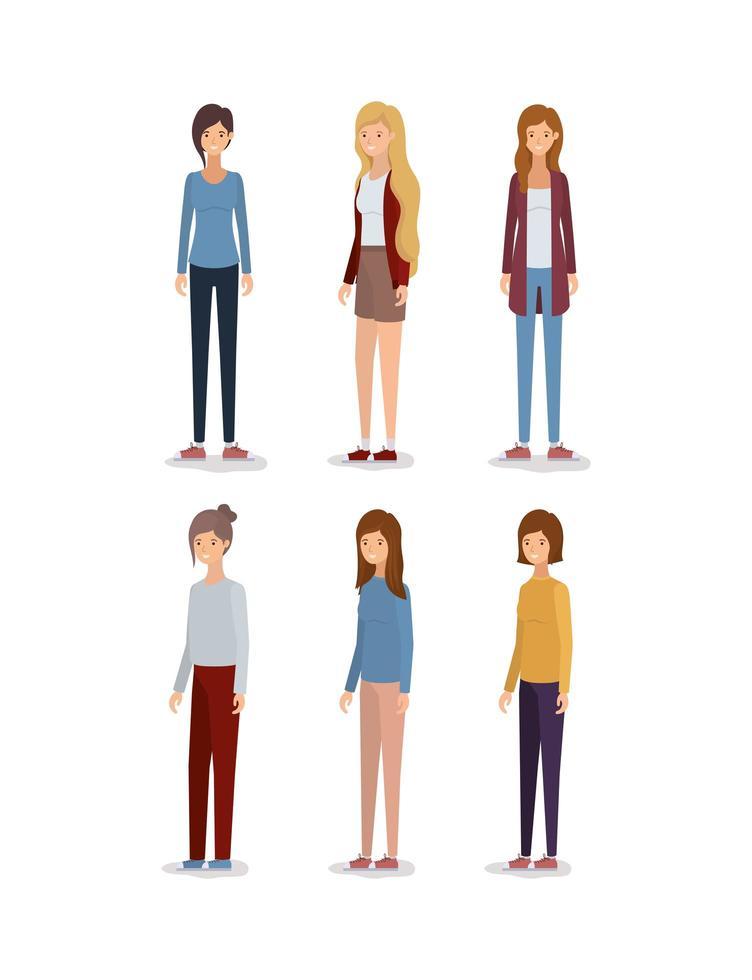 set di avatar di donne isolate vettore