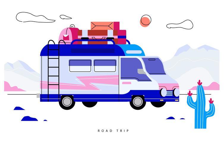 Illustrazione piana di vettore felice di viaggio stradale della famiglia felice