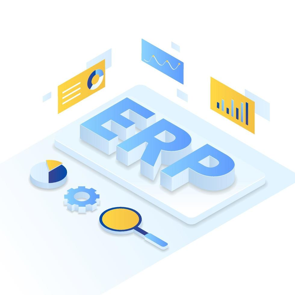 stile isometrico dell'illustrazione di pianificazione delle risorse aziendali ERP vettore