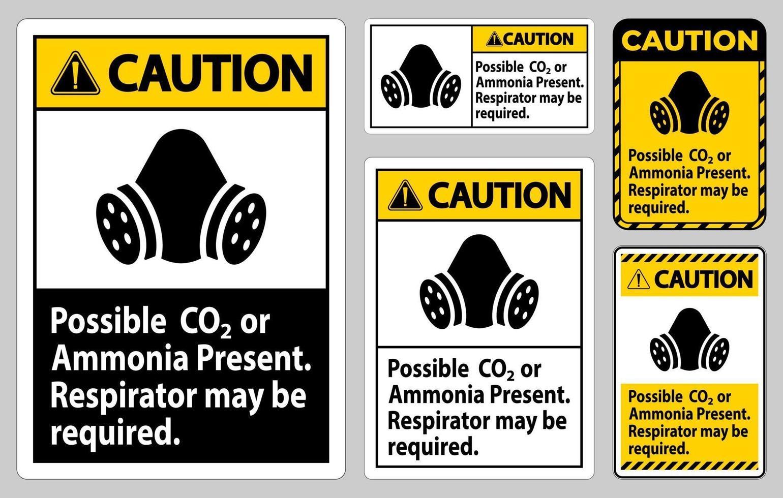 segno di attenzione ppe possibile insieme di segni di presentazione di co2 o ammoniaca vettore