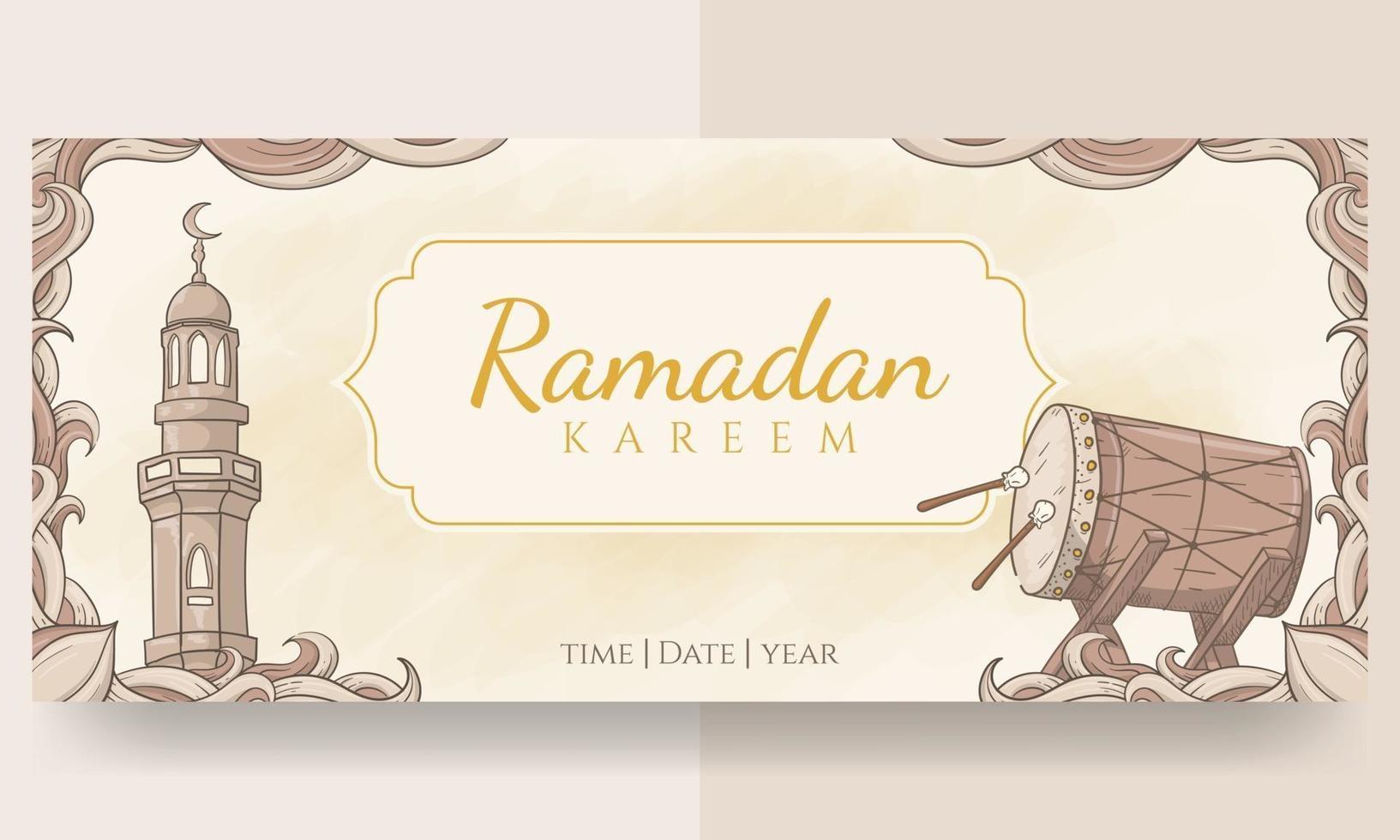 banner di ramadan kareem disegnato a mano vettore