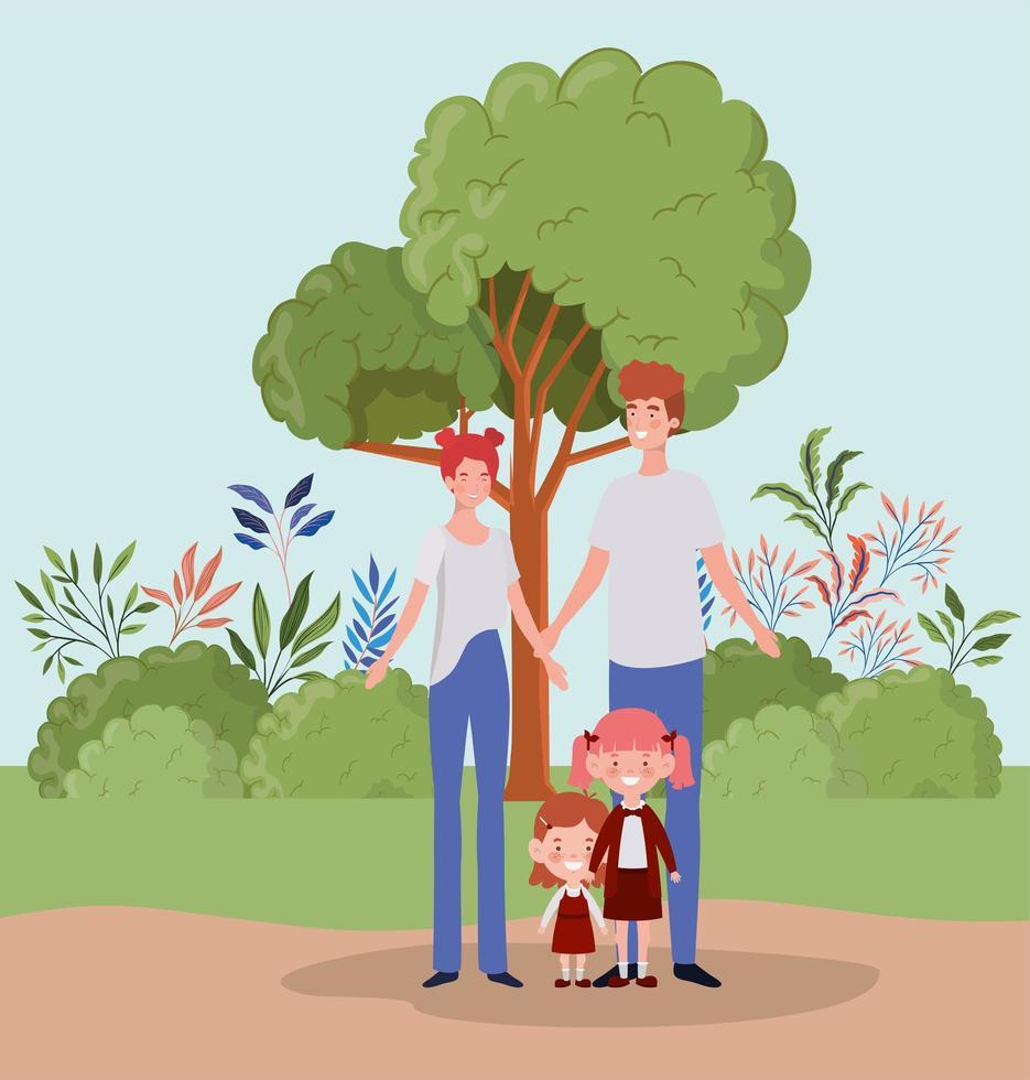 famiglia al parco vettore