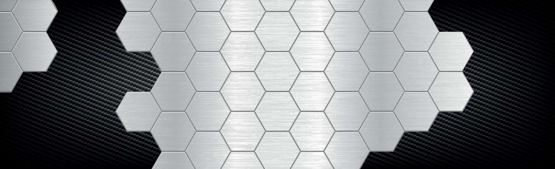 sfondo astratto esagoni in metallo e fibra di carbonio - illustrazione vettoriale