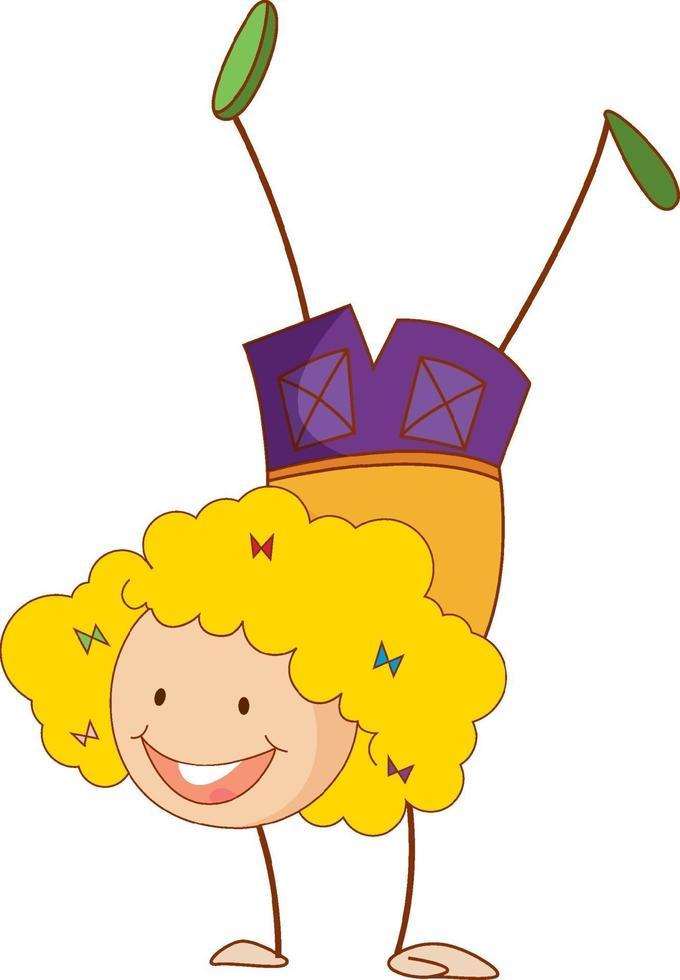 un bambino scarabocchio che esegue un personaggio dei cartoni animati di break dance isolato vettore