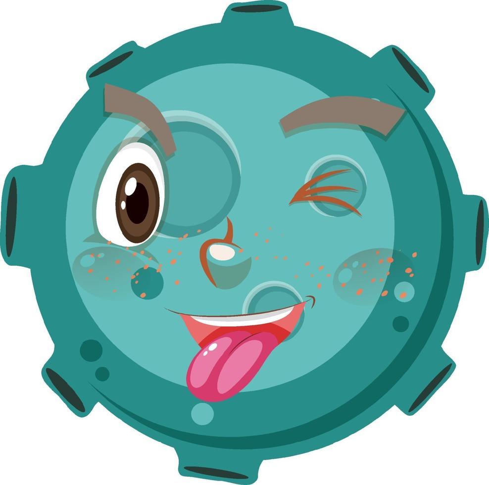 personaggio dei cartoni animati asteroide con espressione faccia buffa su sfondo bianco vettore