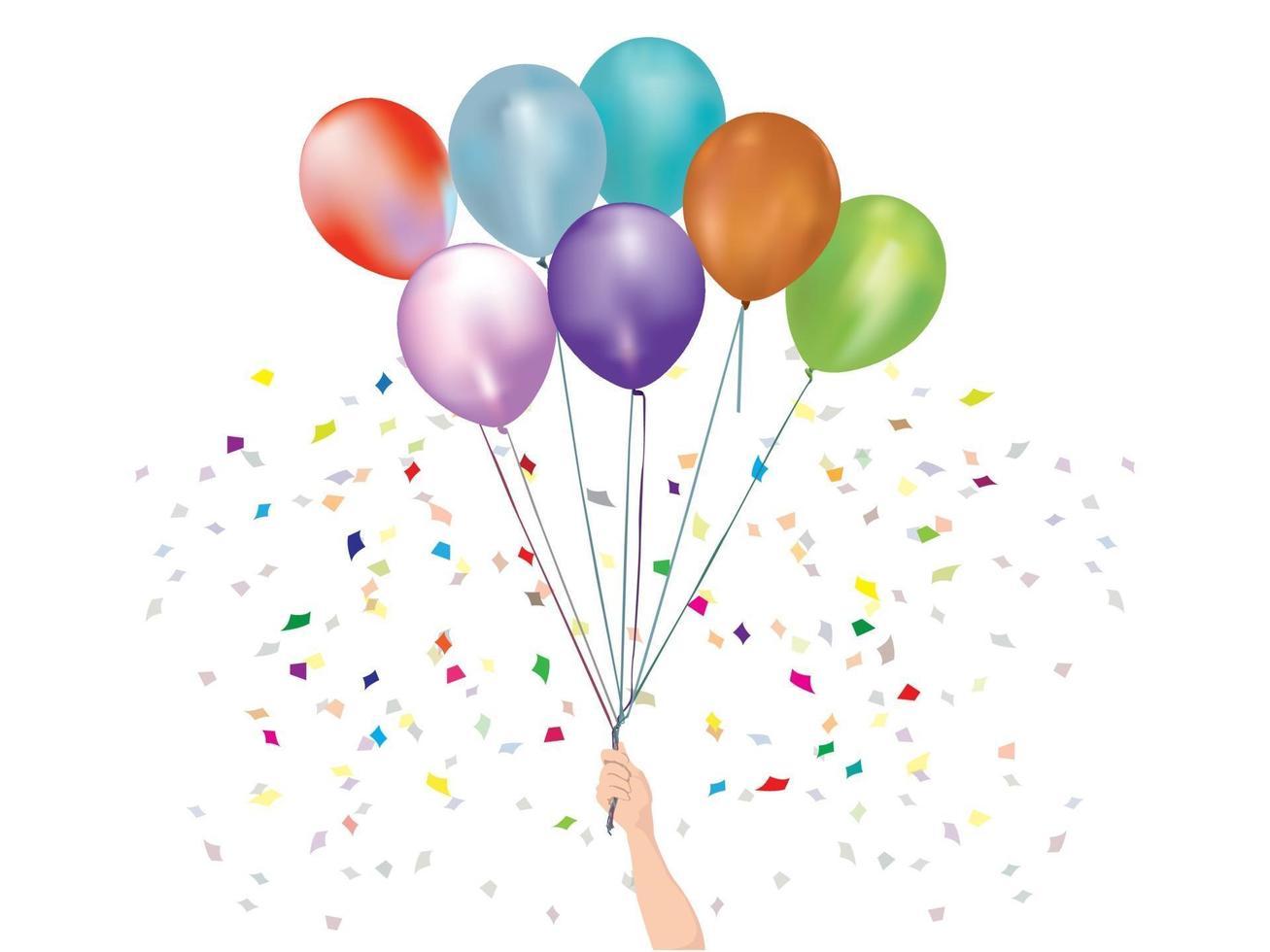celebrazione di palloncini sul grafico illustrazione vettoriale