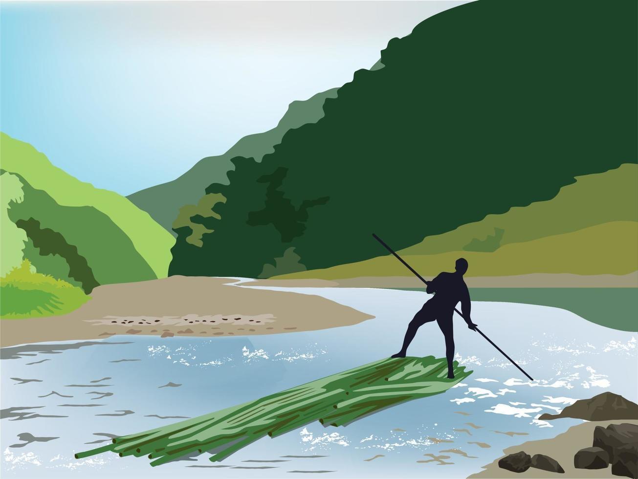 bambù rafting sul grafico illustrazione vettoriale