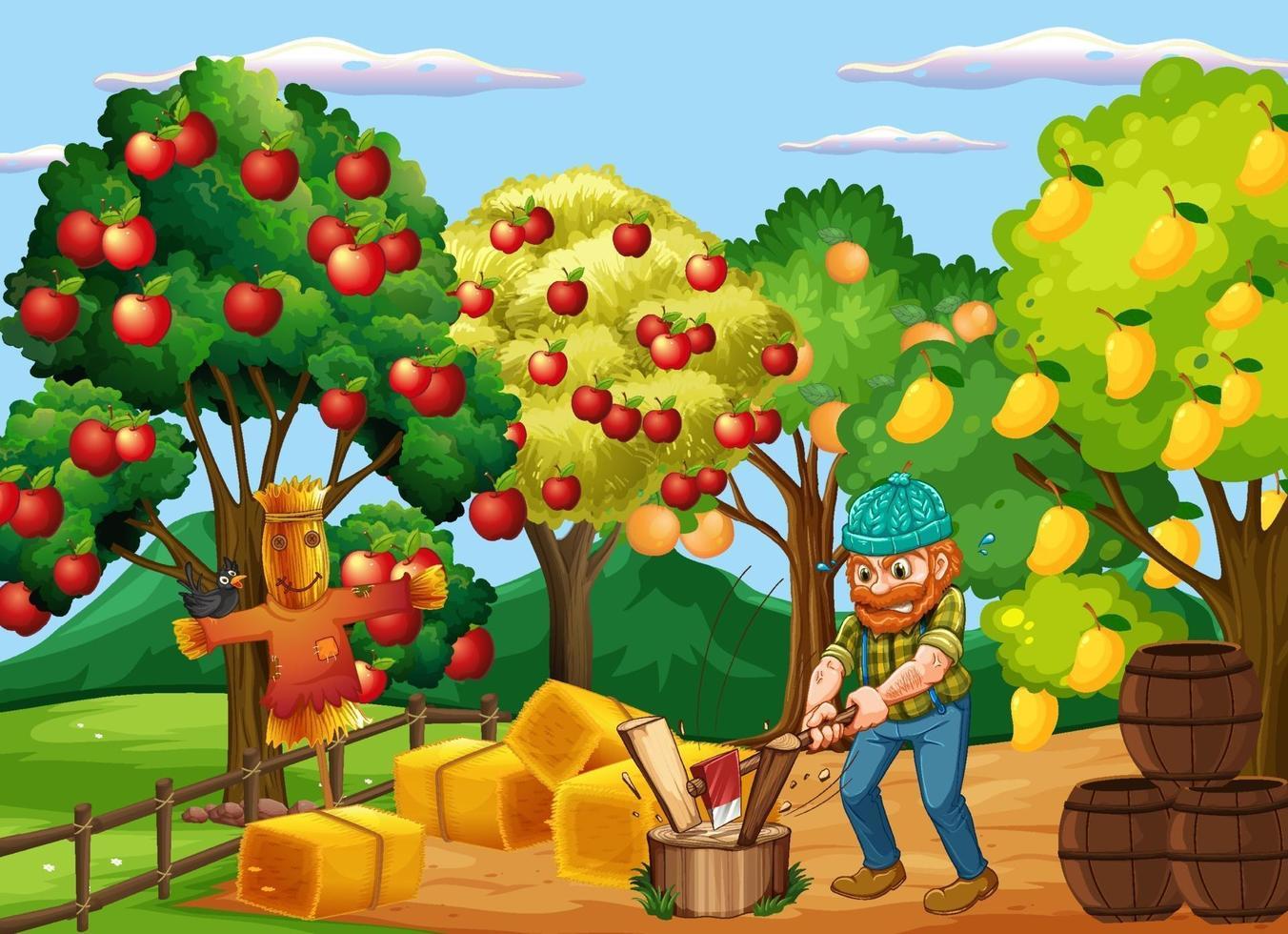 scena di fattoria con contadino e molti alberi da frutto vettore