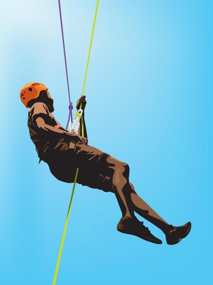 discesa in corda doppia arrampicata su illustrazione grafica vettoriale
