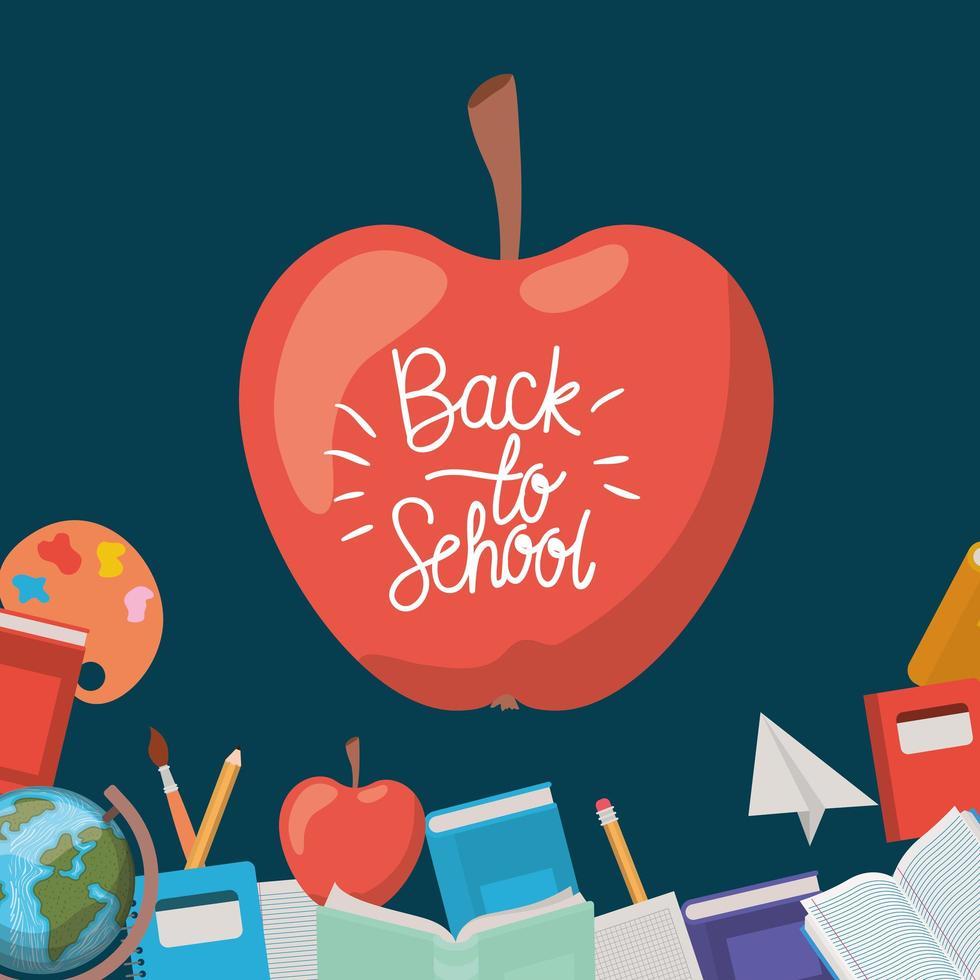 frutta mela con rifornimenti torna a scuola vettore