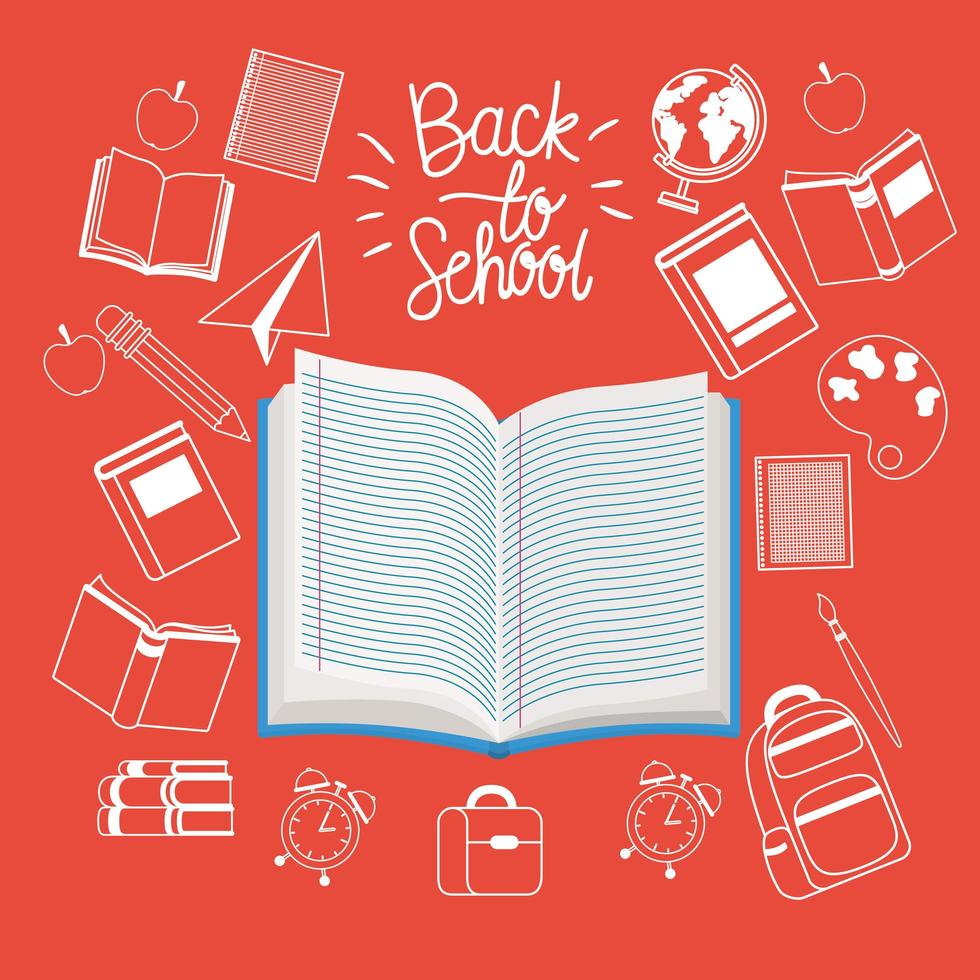 libri di testo e forniture per tornare a scuola vettore