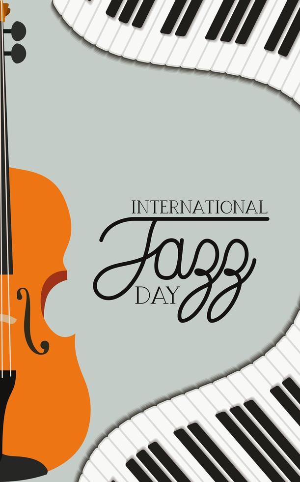 poster del giorno del jazz con tastiera di pianoforte e violino vettore