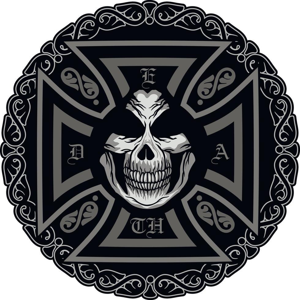segno gotico con teschio e croce, magliette di design vintage grunge vettore