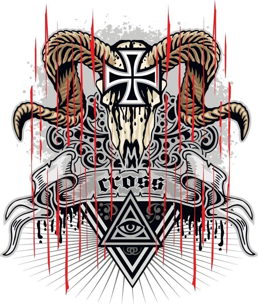 segno gotico con teschio di ariete e croce, magliette di design vintage grunge vettore