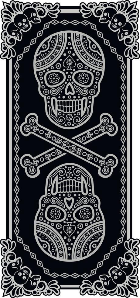modello teschio di zucchero messicano, design vintage per t-shirt vettore
