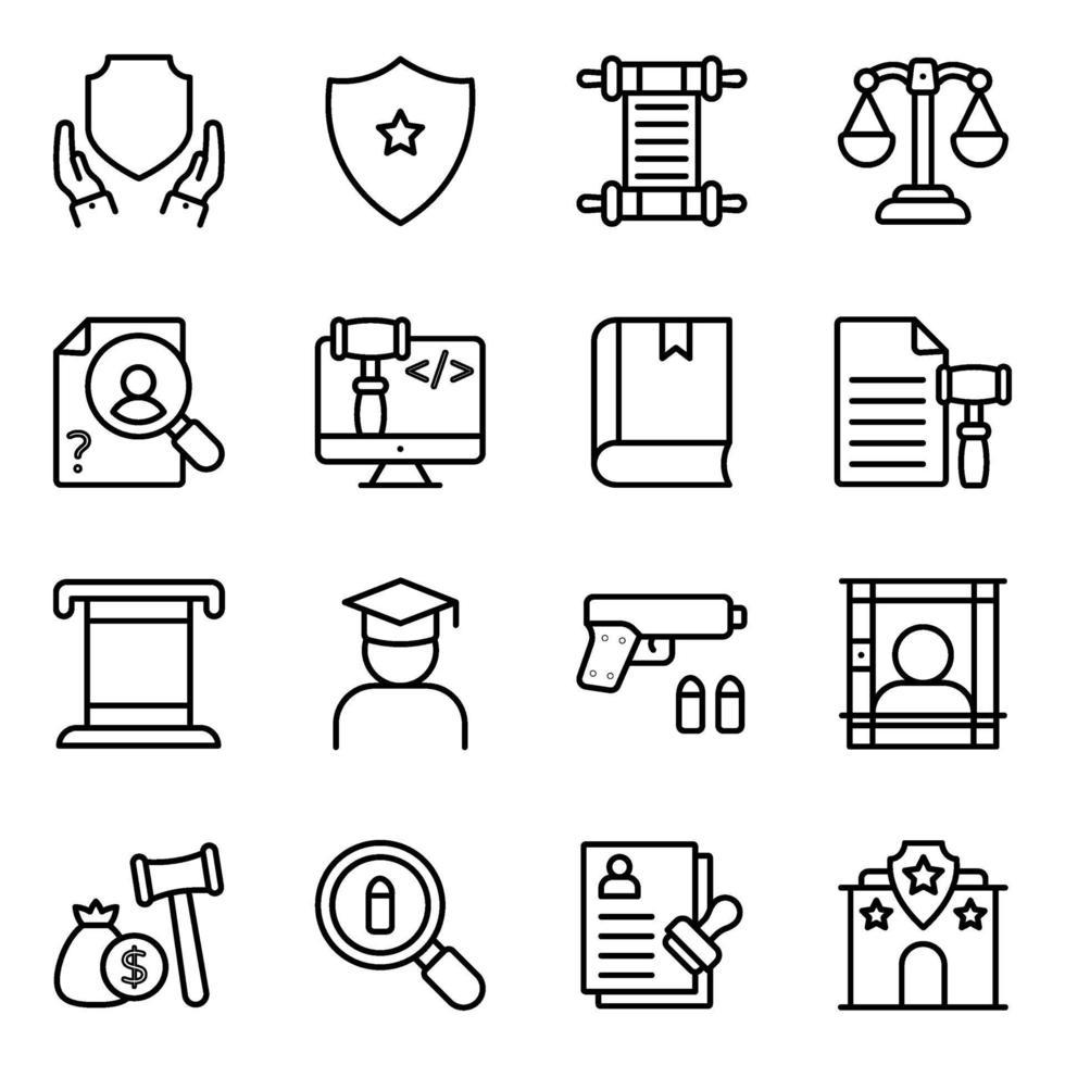 pacchetto di icone lineari di legge vettore